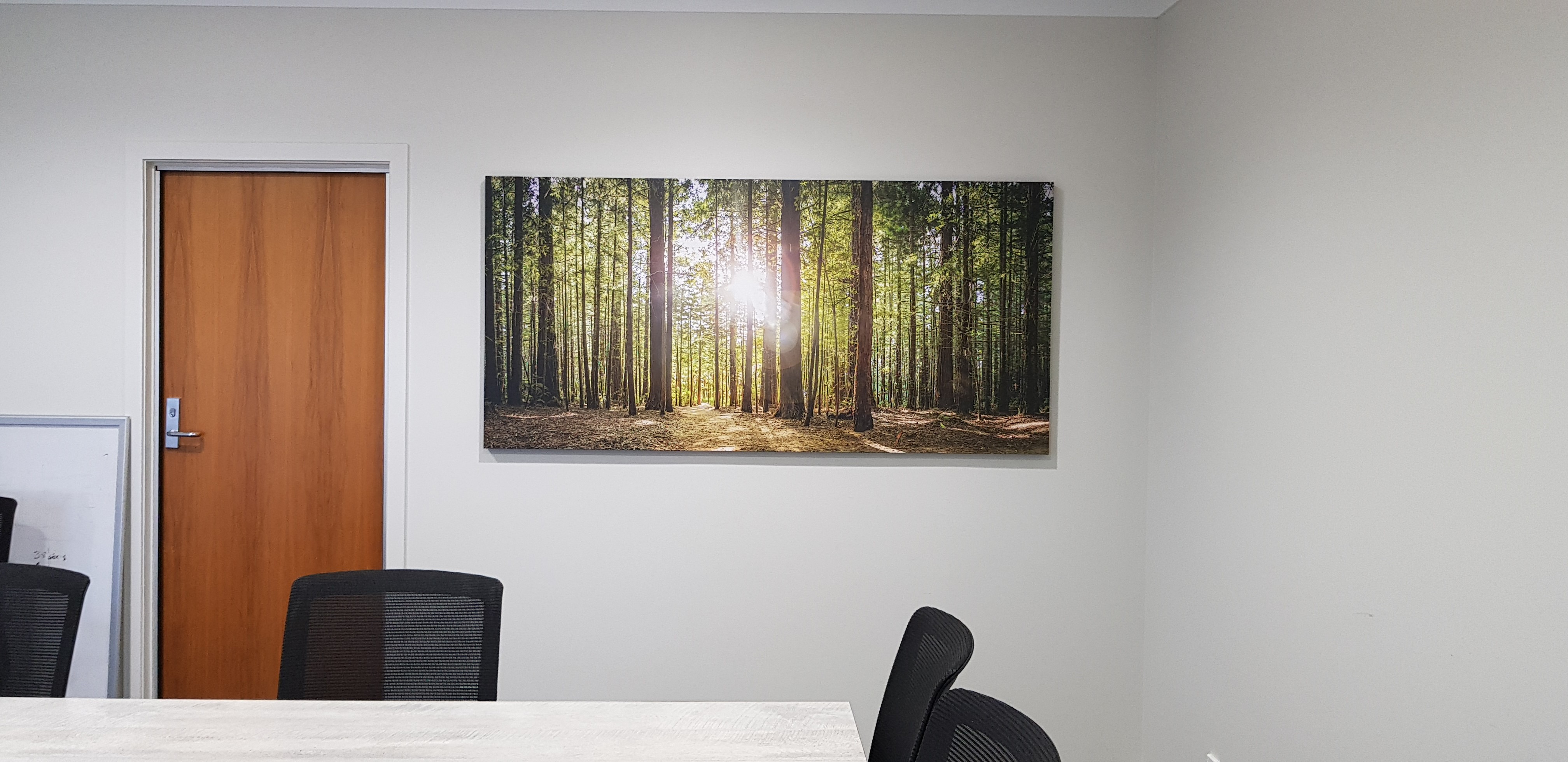 Canvas hanging in meeting room