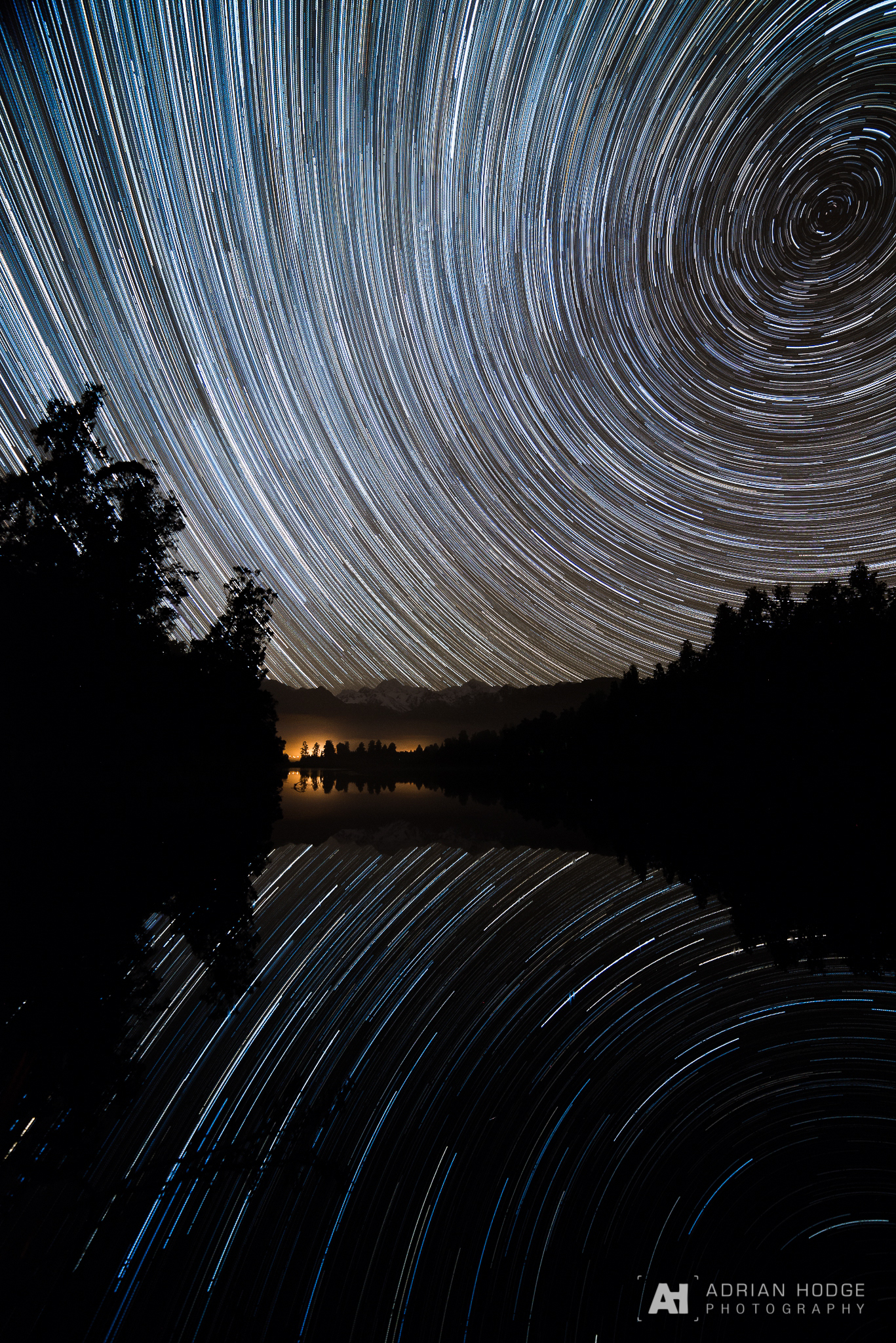 Lake Matheson Star Trail Astrophoto