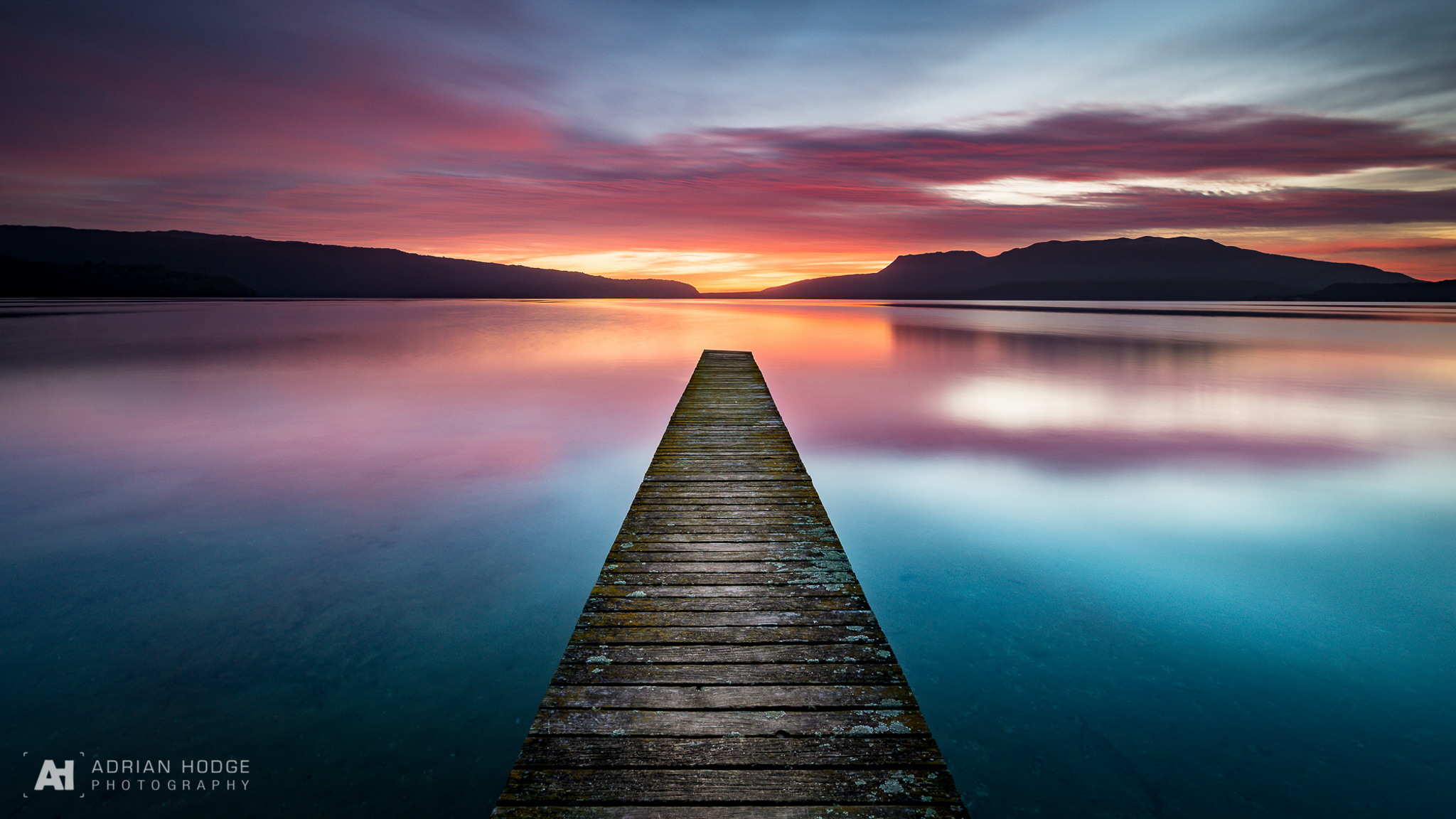 Tarawera Jetty at Rangiuru Bay during sunrise