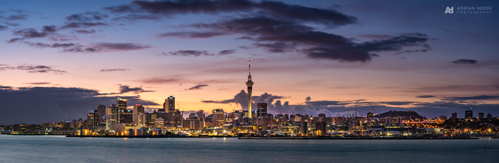 Auckland City Panorama at sunrise