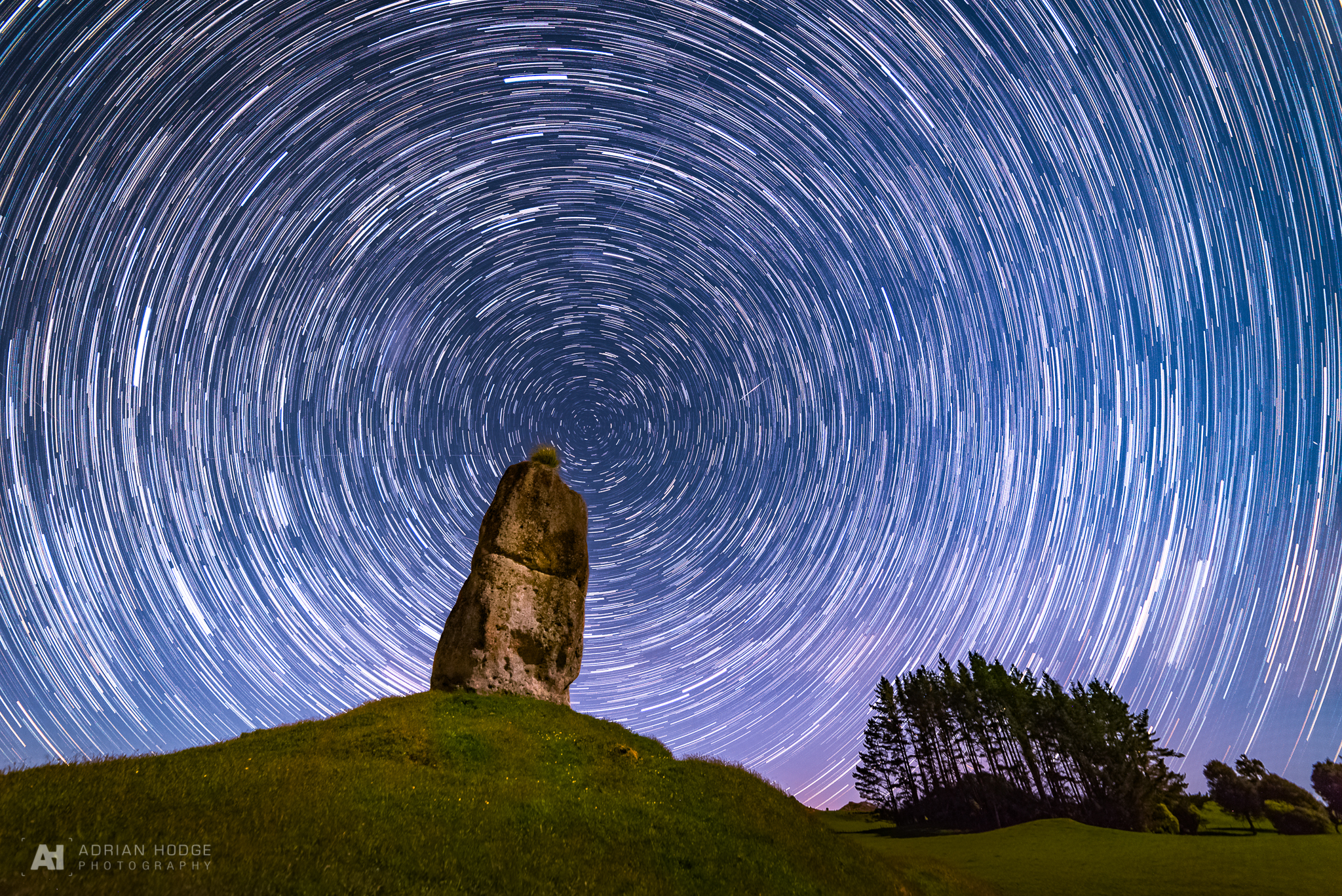 Star trails showing celestial South Pole over New Zealand