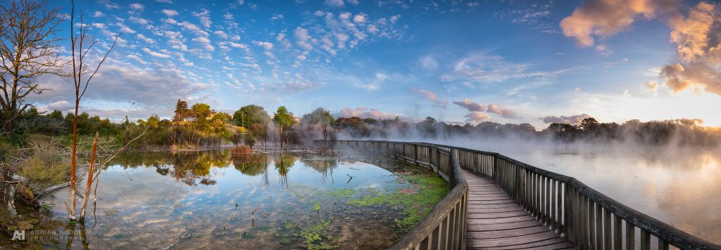 Kuirau Park Sunset boardwalk over geothermal steam pool