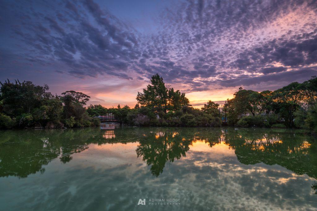 Sunset over Kuirau Park Pond