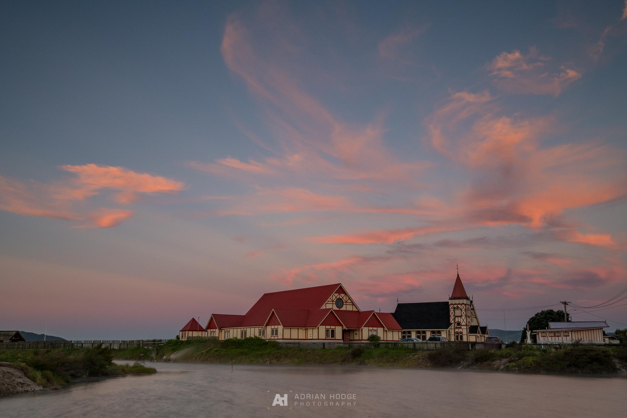 Colourful Ohinemutu Sunset \'Time Slice\' - Adrian Hodge Photography