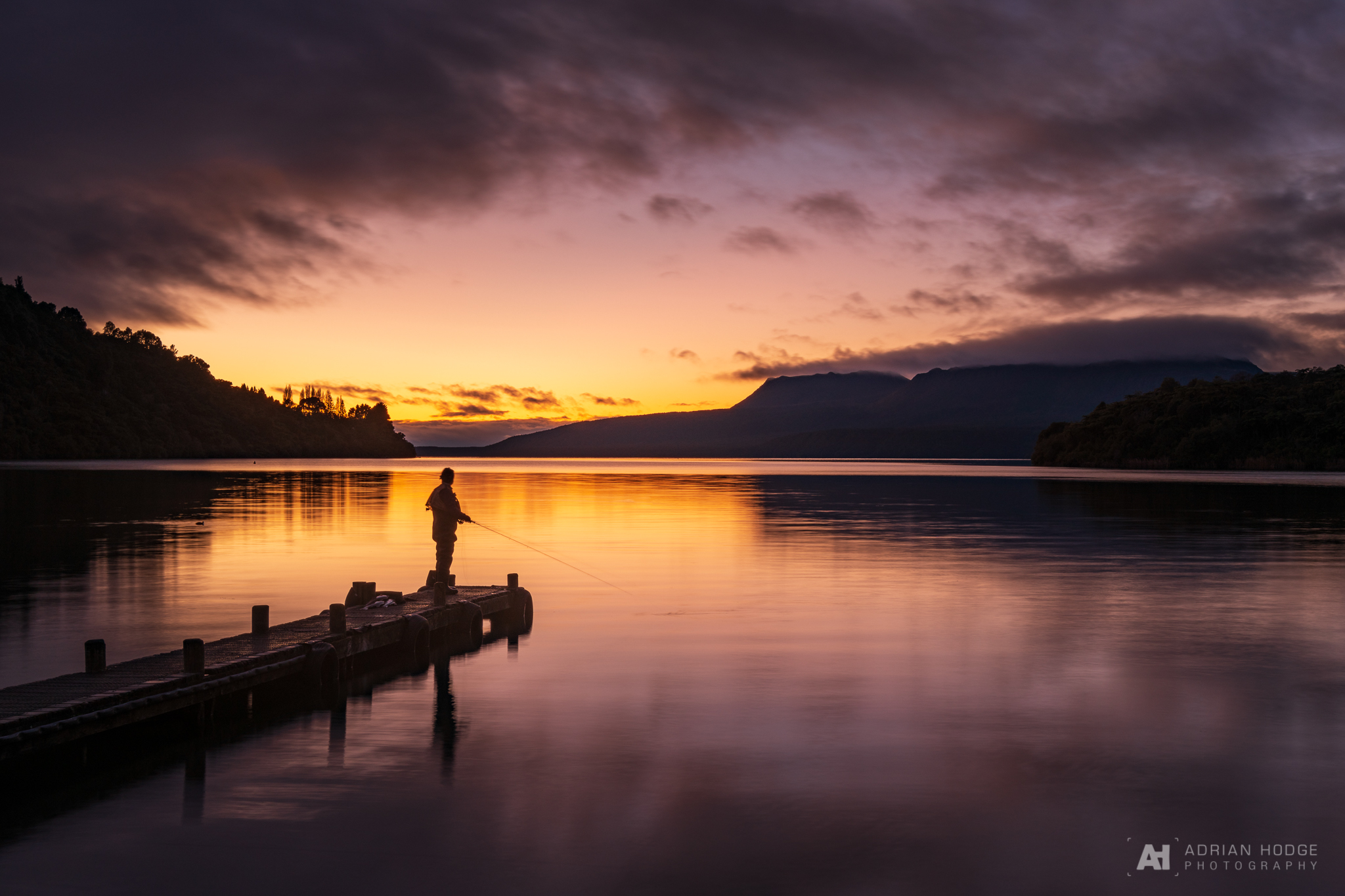Fly Fishing at The Landing, Lake Tarawera at Sunrise