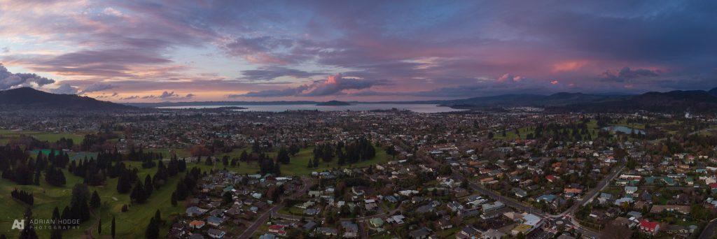 Jackson Park Sunset Aerial Panorama