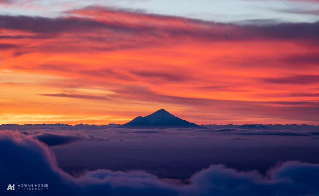 Mt Taranaki from Ruapehu at Sunset