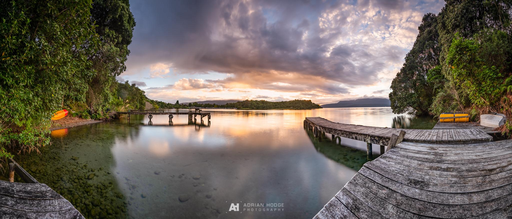 A 6 frame stitched panorama of sunrise from Kariri Point on Lake Tarawera, Rotorua